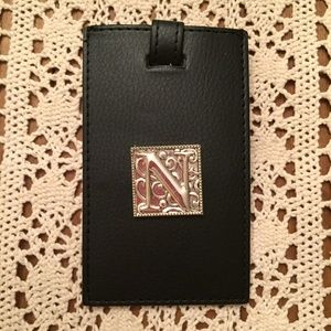 Leather Luggage Tag with Silver Monogram N